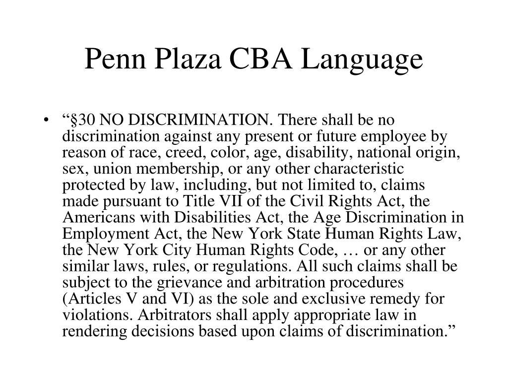 Penn Plaza CBA Language