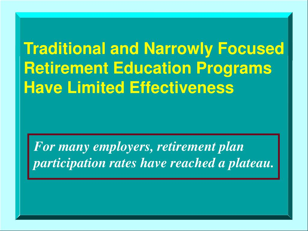 Traditional and Narrowly Focused Retirement Education Programs Have Limited Effectiveness