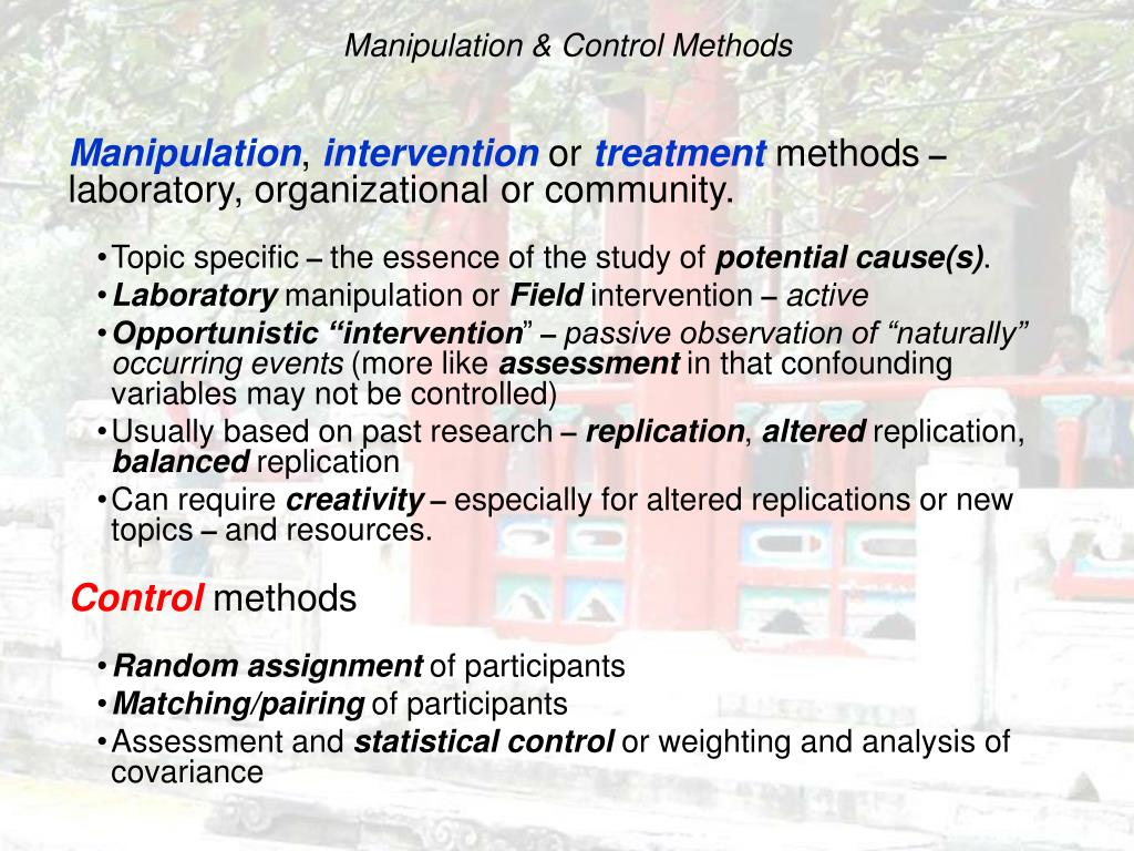 Manipulation & Control Methods