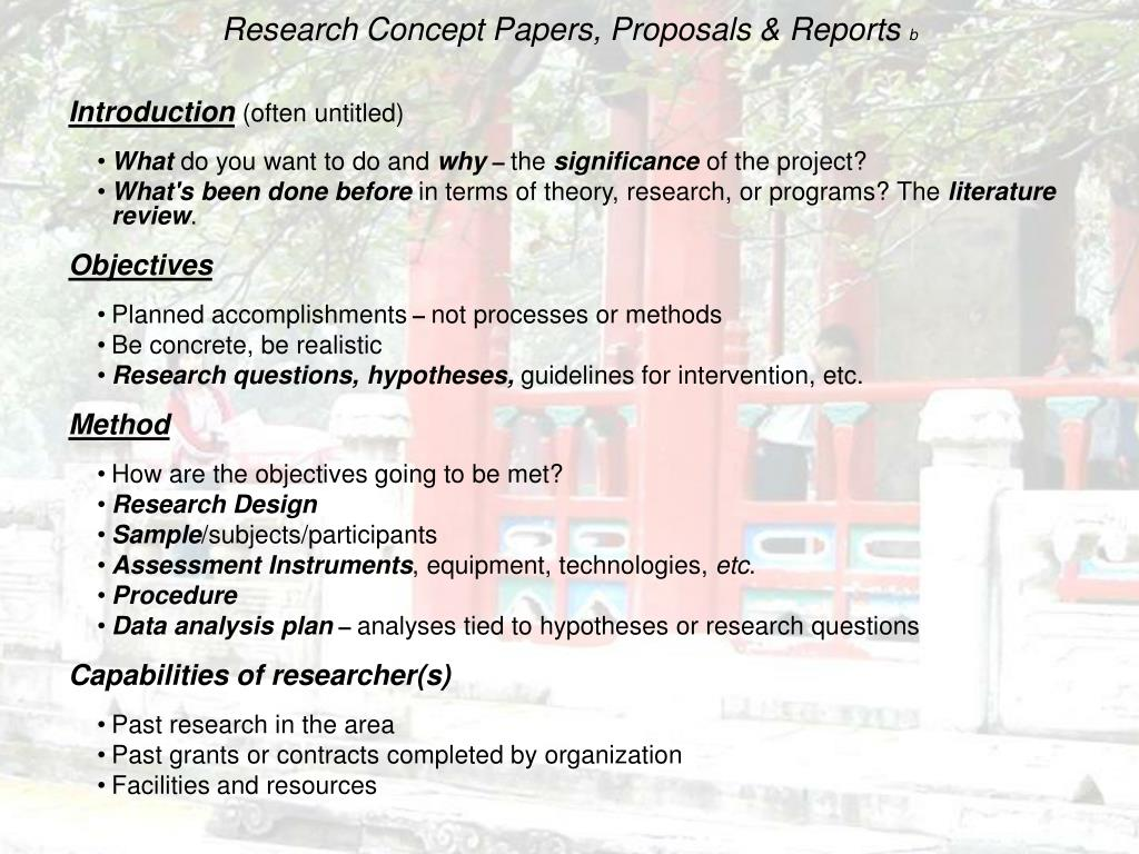 Research Concept Papers, Proposals & Reports