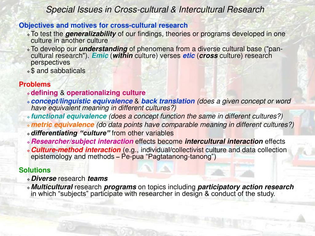 Special Issues in Cross-cultural & Intercultural Research