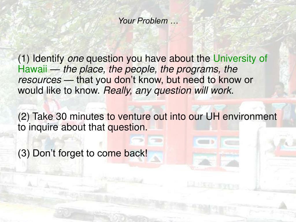 Your Problem …