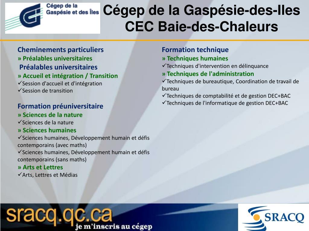Cégep de la Gaspésie-des-Iles CEC Baie-des-Chaleurs