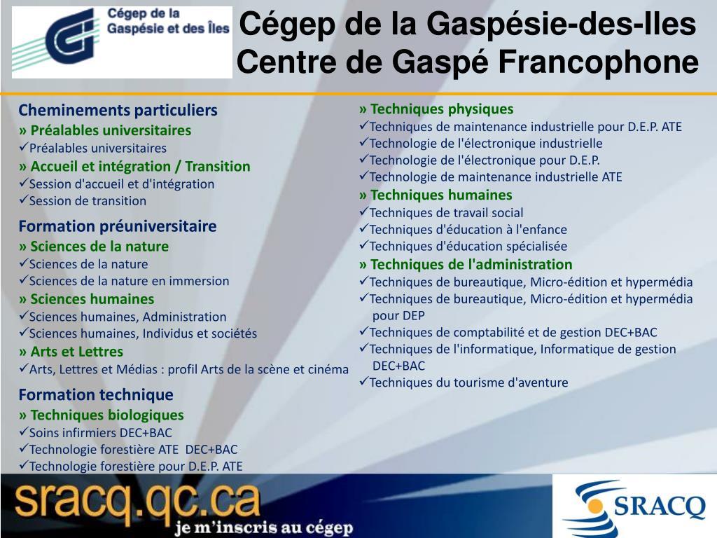 Cégep de la Gaspésie-des-Iles Centre de Gaspé Francophone