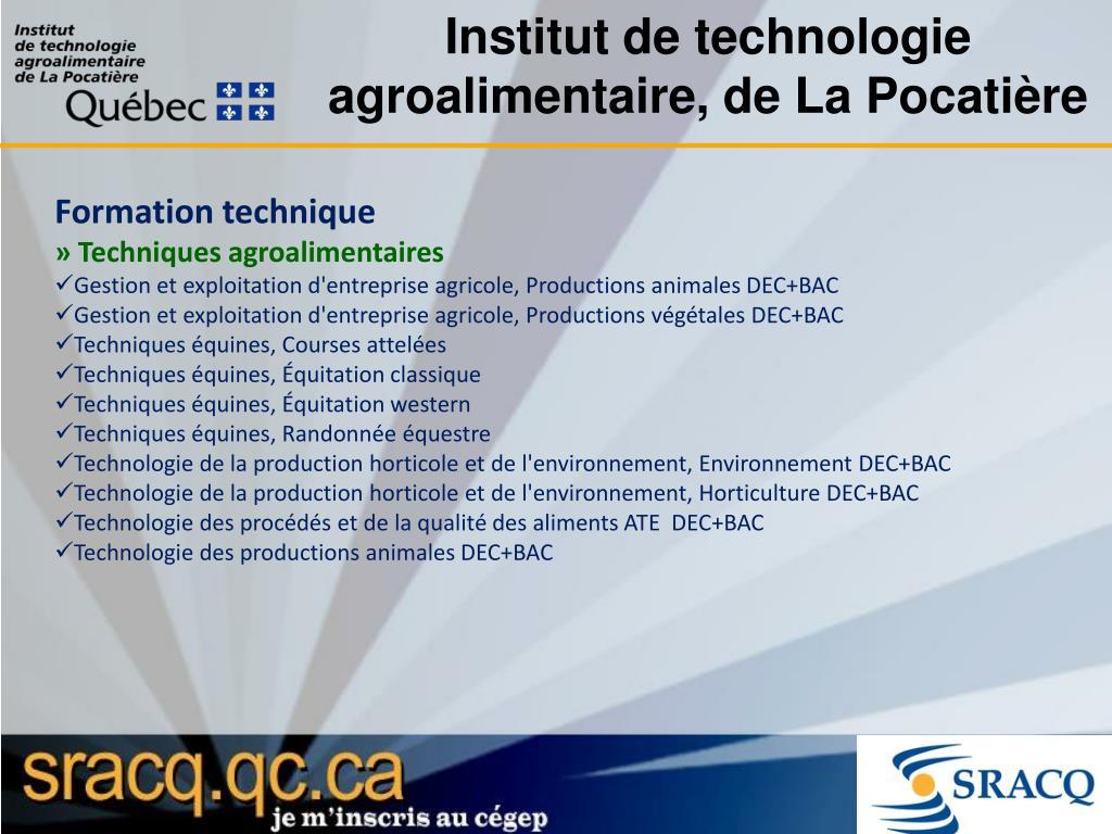 Institut de technologie agroalimentaire, de La Pocatière
