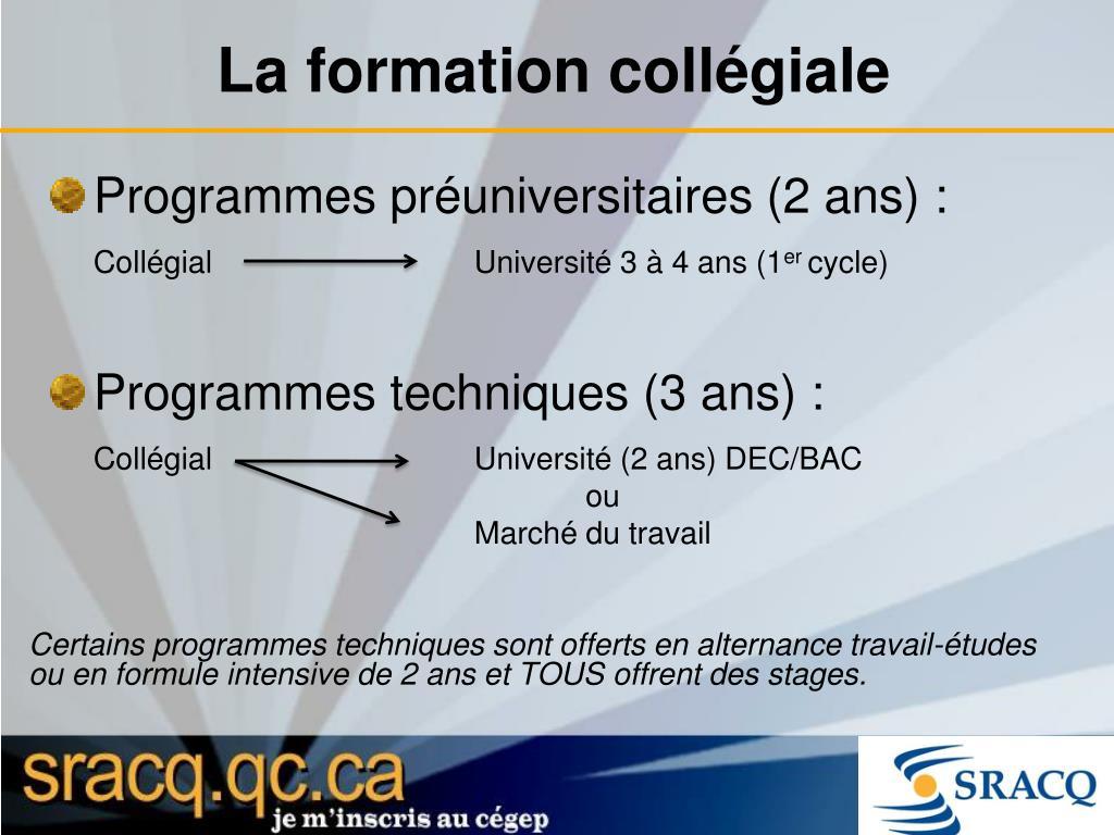 Programmes préuniversitaires (2 ans) :