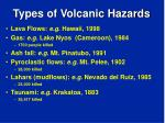 types of volcanic hazards