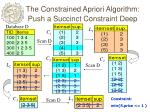 the constrained apriori algorithm push a succinct constraint deep