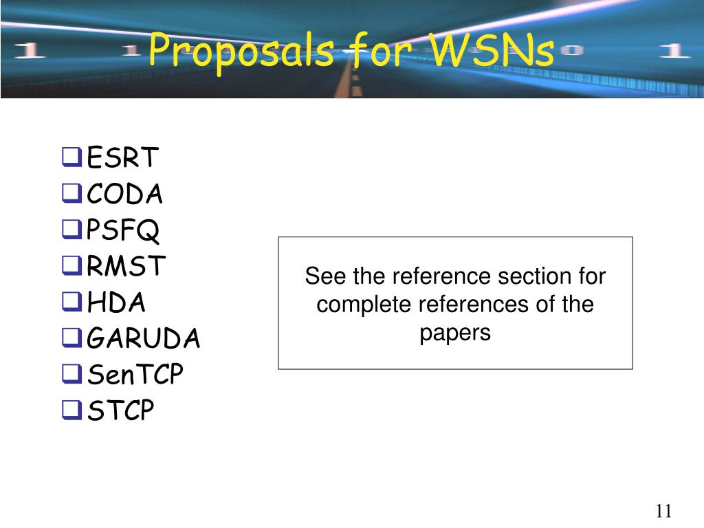 Proposals for WSNs