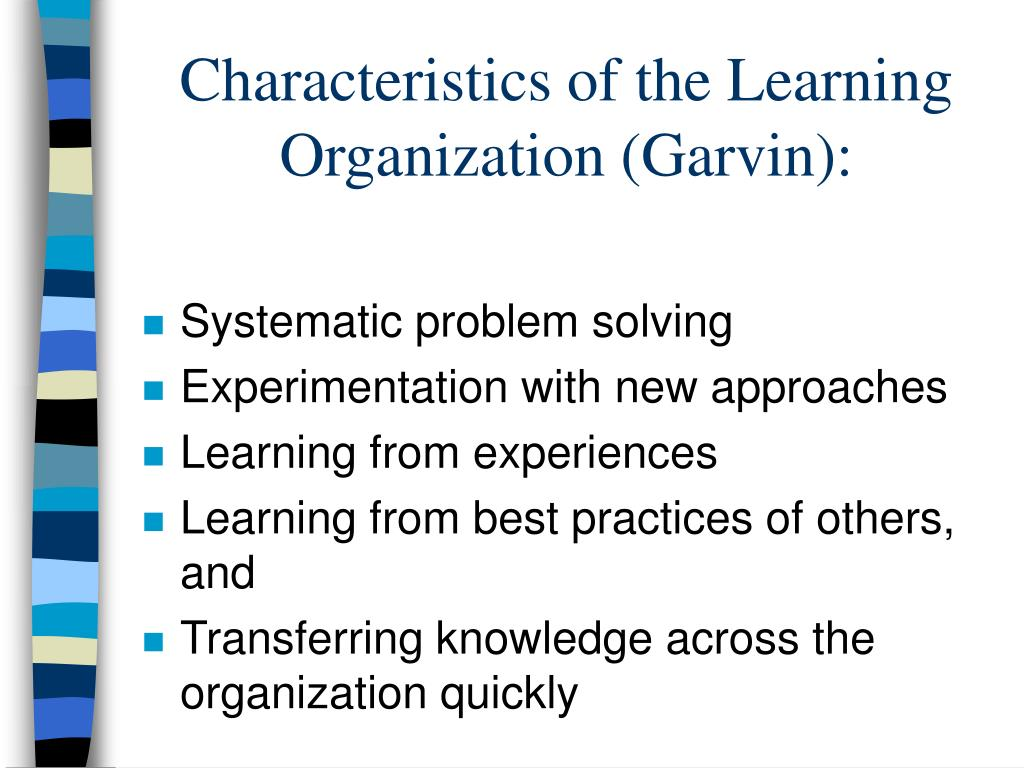 Characteristics of the Learning Organization (Garvin):