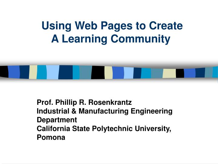 Using web pages to create a learning community
