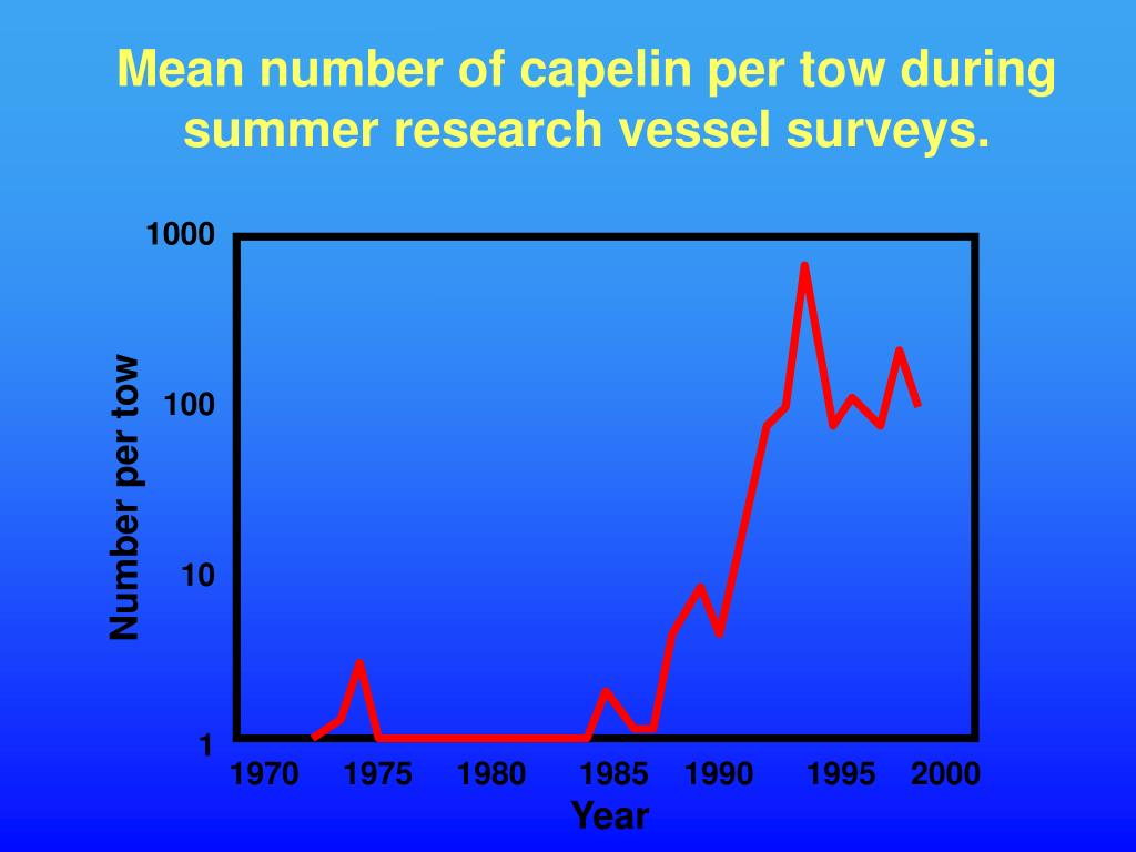Mean number of capelin per tow during summer research vessel surveys.