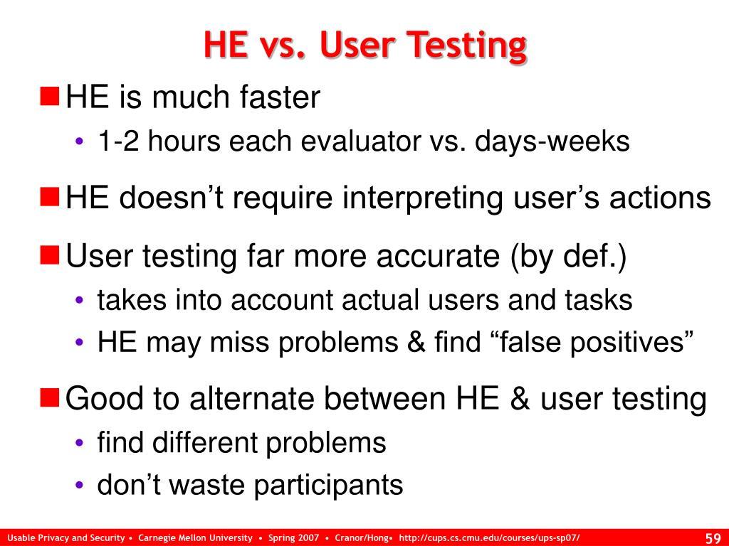 HE vs. User Testing