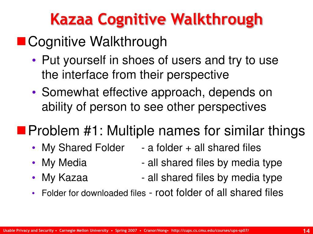 Kazaa Cognitive Walkthrough