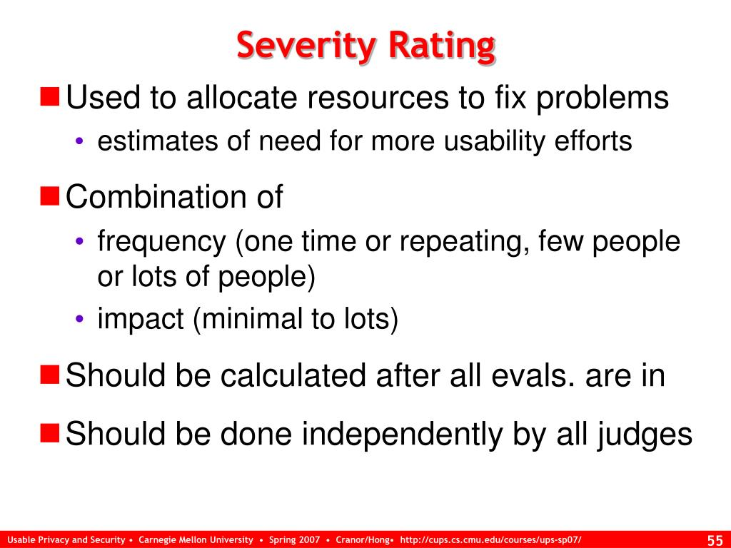 Severity Rating