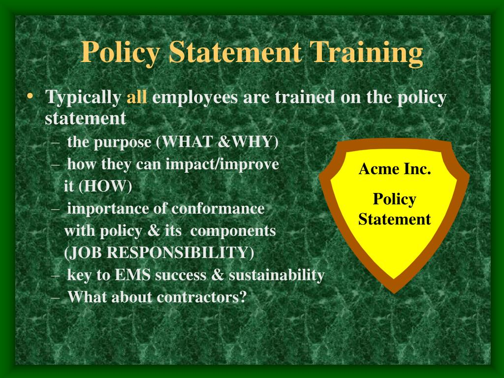 Policy Statement Training