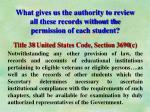 what gives us the authority to review all these records without the permission of each student