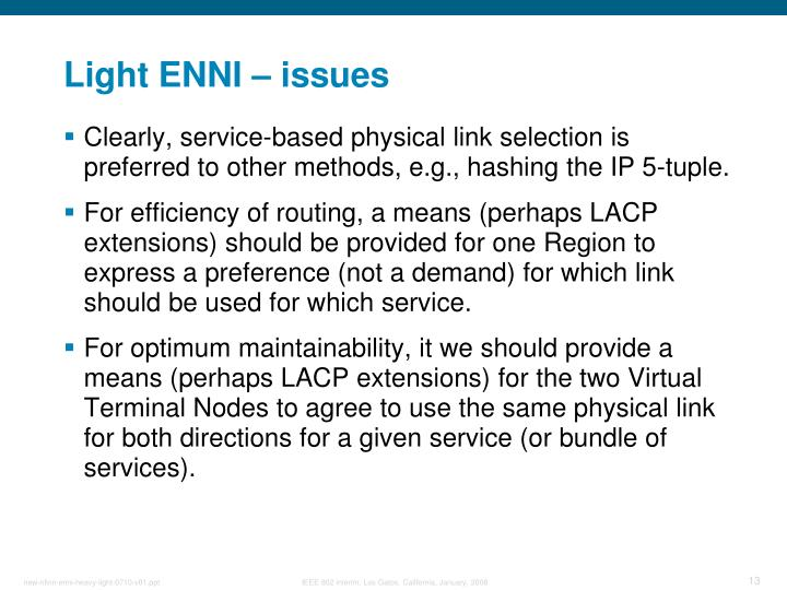 Light ENNI – issues