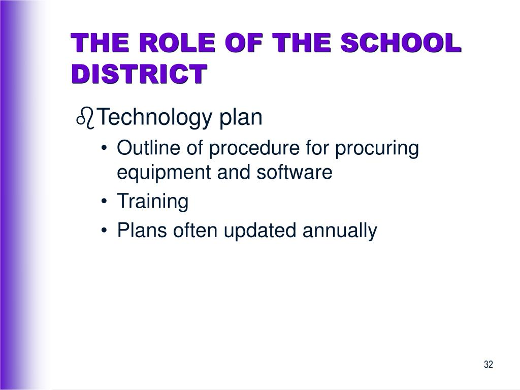 THE ROLE OF THE SCHOOL DISTRICT