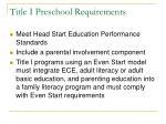 title i preschool requirements