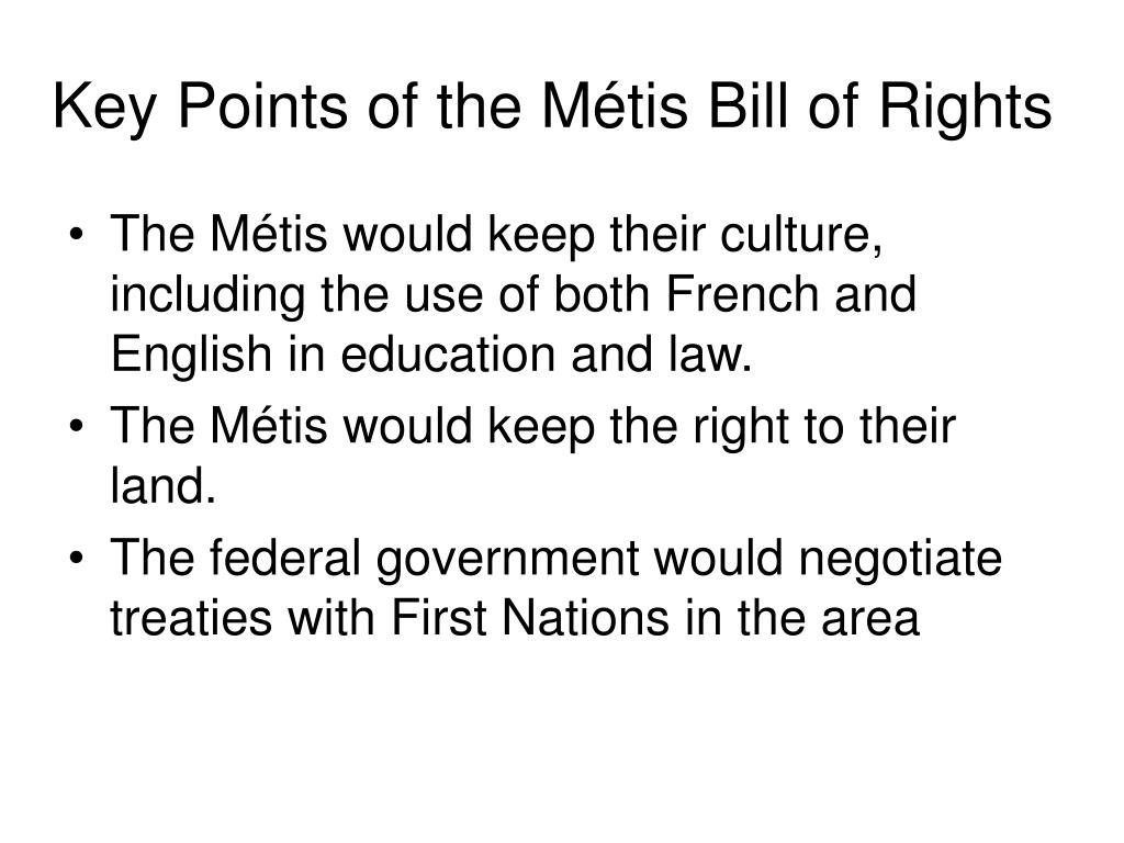 Key Points of the Métis Bill of Rights