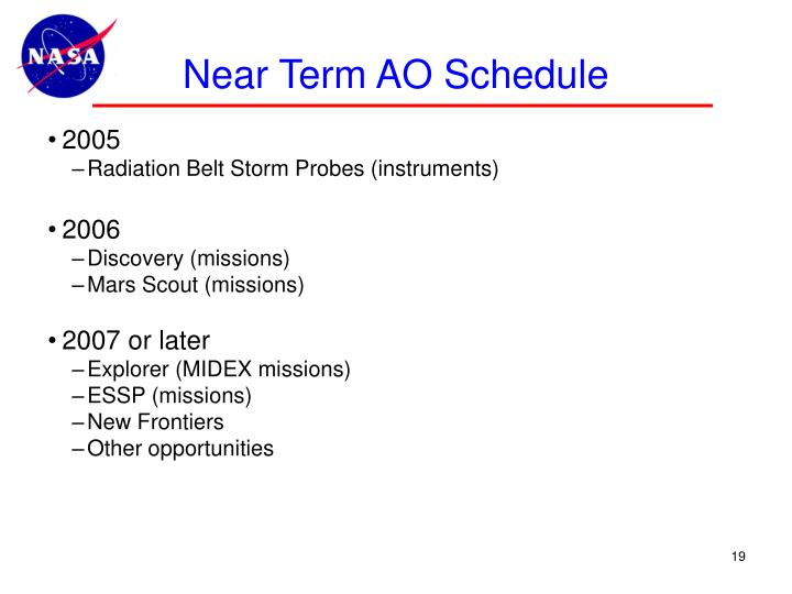Near Term AO Schedule