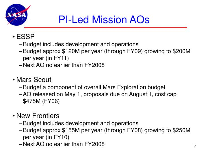 PI-Led Mission AOs