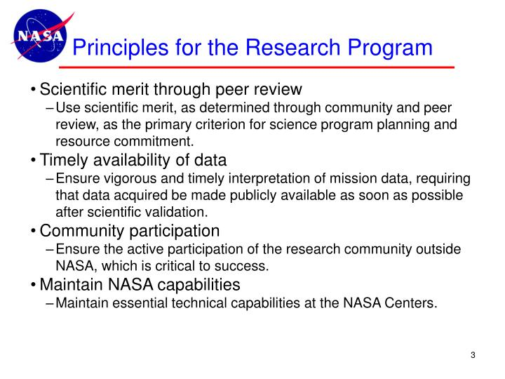 Principles for the research program