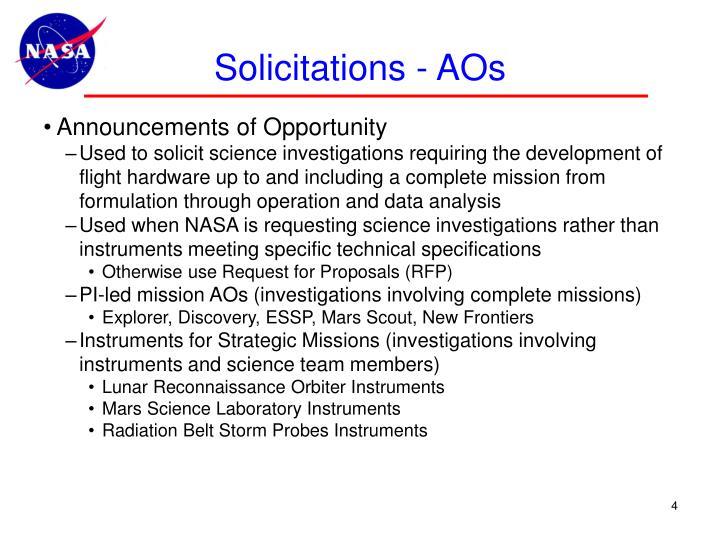 Solicitations - AOs