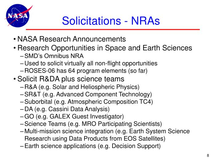Solicitations - NRAs