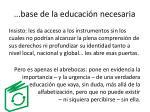 base de la educaci n necesaria