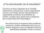 y la comunicaci n con la naturaleza