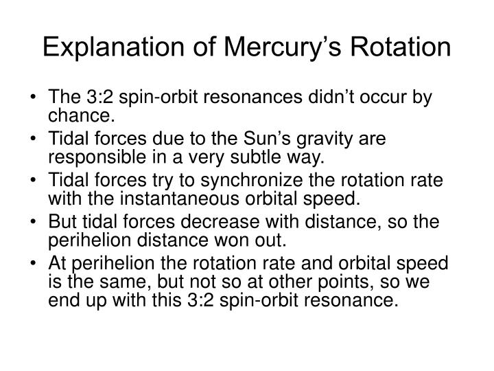 Explanation of Mercury's Rotation
