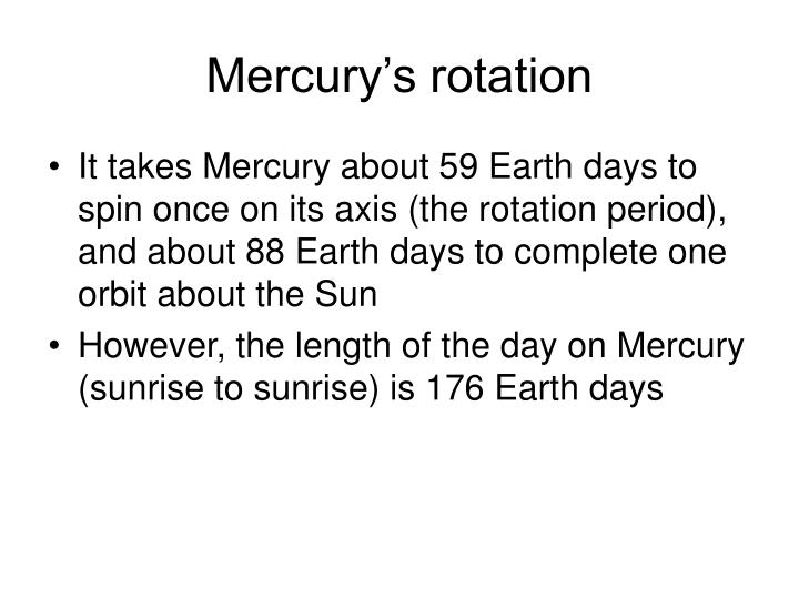 Mercury s rotation