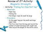 review of 2 nd activity magnets strength
