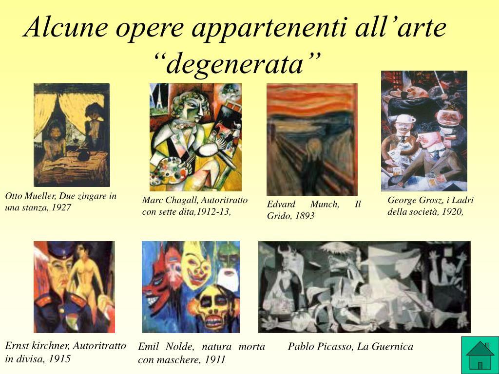 """Alcune opere appartenenti all'arte """"degenerata"""""""