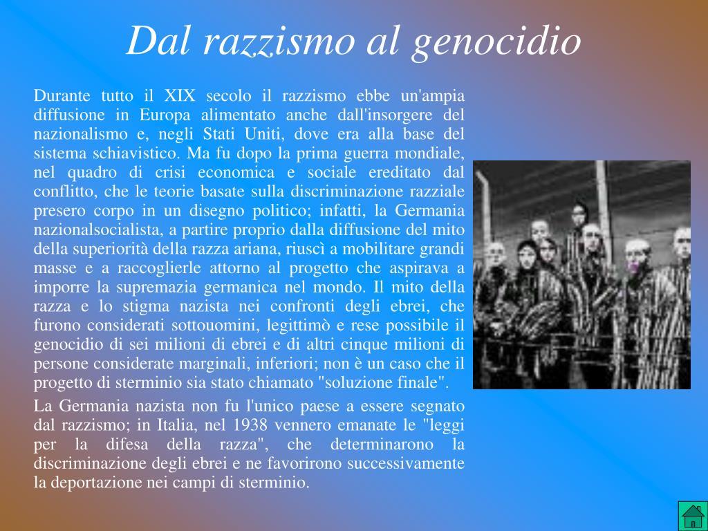 Dal razzismo al genocidio