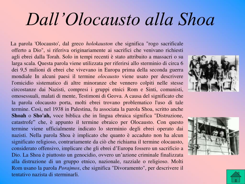 Dall'Olocausto alla Shoa