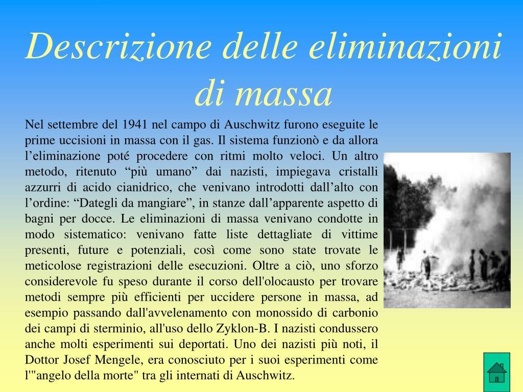 Descrizione delle eliminazioni di massa