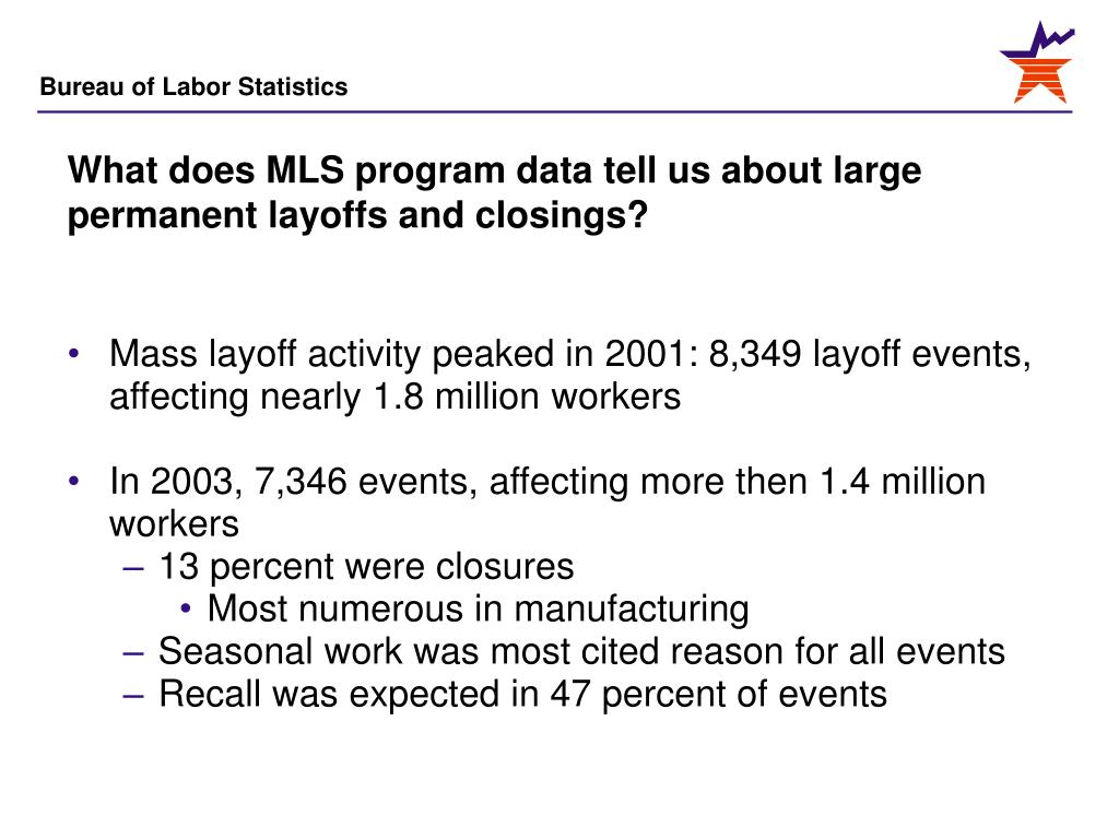 What does MLS program data tell us about large permanent layoffs and closings?