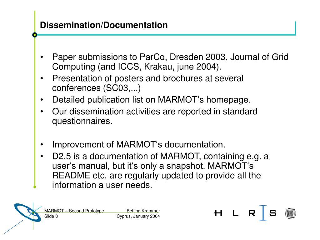 Dissemination/Documentation