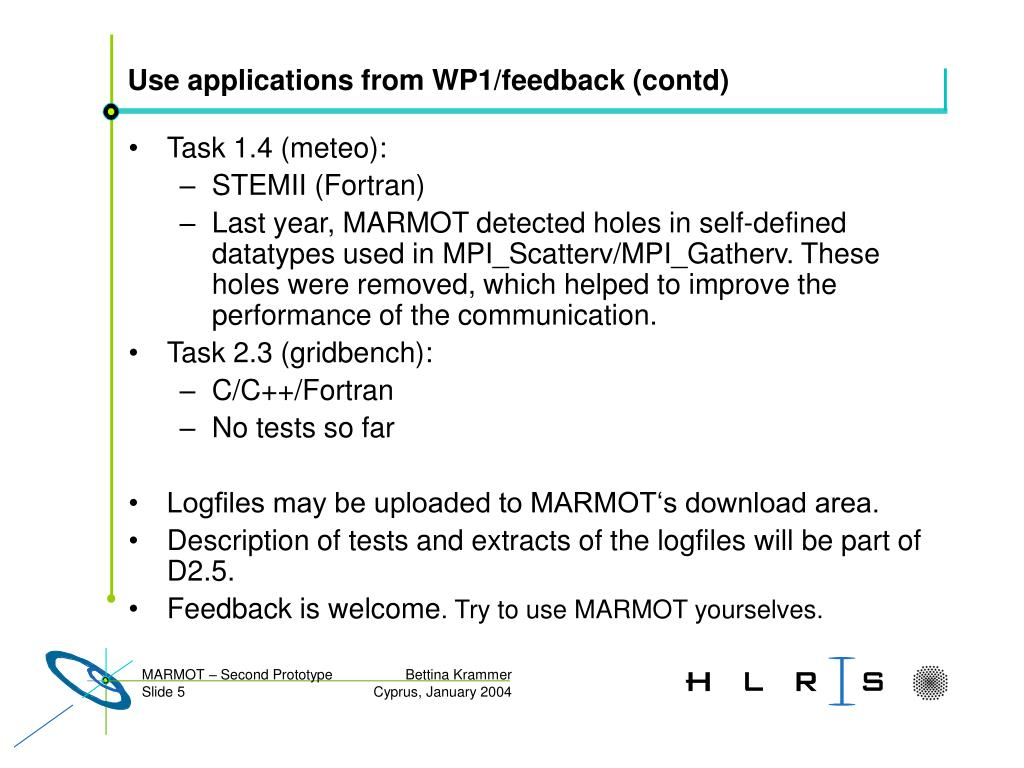 Use applications from WP1/feedback (contd)