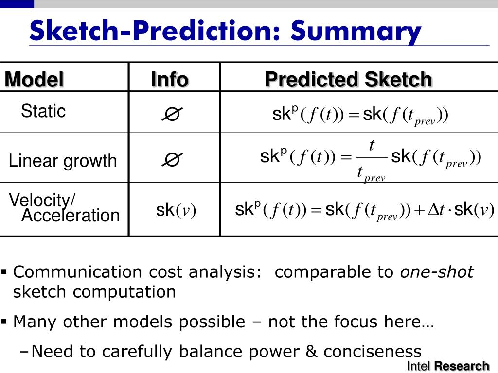 Sketch-Prediction: Summary