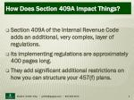 how does section 409a impact things