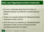 state laws regarding permitted investments22