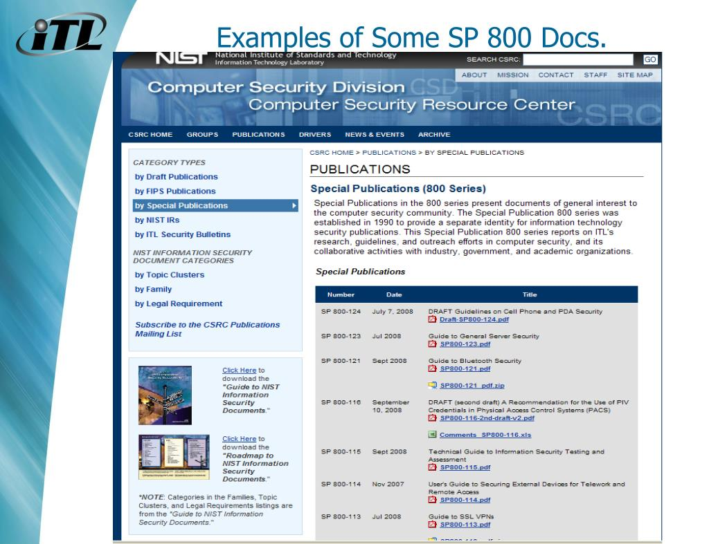 Examples of Some SP 800 Docs.