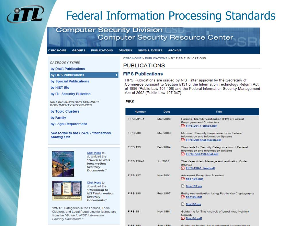 Federal Information Processing Standards