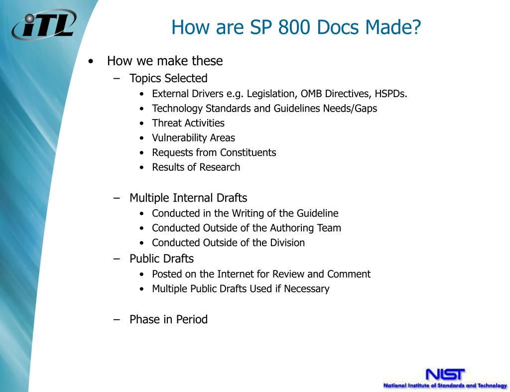 How are SP 800 Docs Made?