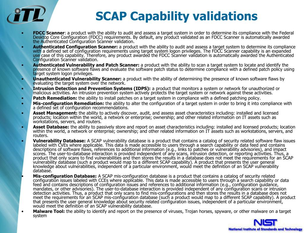 SCAP Capability validations