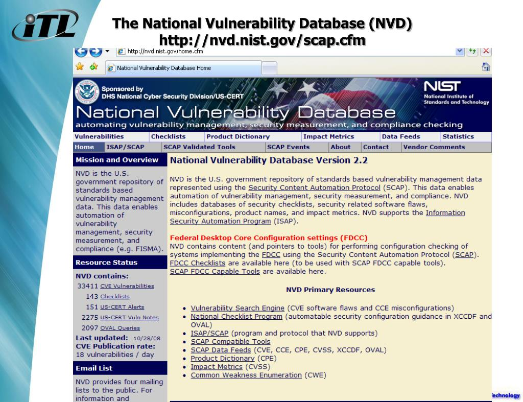 The National Vulnerability Database (NVD)
